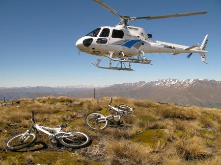 Chopper taking off from Crown Peak