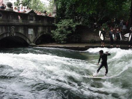Surfing the Eisbach, Munich
