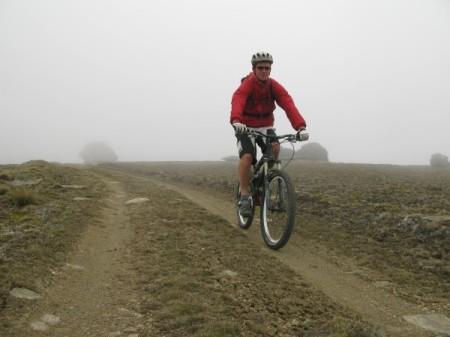 Tony riding through the mist